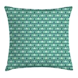 zigzag steering wheel cover - Mint Throw Pillow Cushion Cover by Ambesonne, Steering Wheels Anchors Chevron Zigzag Nautical Seaside Theme Aquatic, Decorative Square Accent Pillow Case, 24 X 24 Inches, Mint Green Navy Blue White