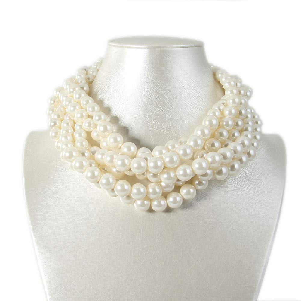 Kalse Simulated Pearl Cluster White Beads Twisted Statement Chunky Bib Short Choker Necklace