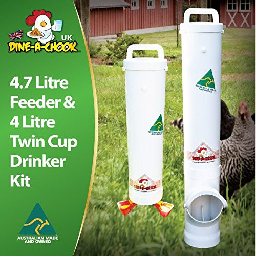 Dine a Chook 4.7 Litre Chicken Feeder and 4 Litre Twin Cup Drinker Kit