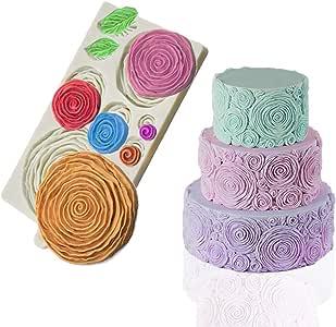 Mity Rain Rosette Ruffle Simpress Silicone Mold Ruffled Roses Fondant Mould for Sugarcraft, Cake Decoration, Gumpaste Icing