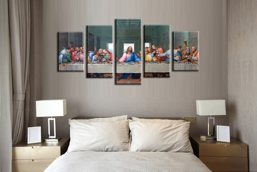 Jingtao Art 1 Jesus The Last Supper Wall Art Painting Canvas Prints Home Decoration in 5 Pieces,Stretched-Ready to Hang (8x12inchx2+8x16inchx2+8x20inch) White by Jingtao Art (Image #4)