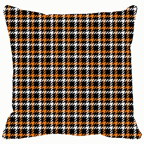 Orange Black White Houndstooth Tartan 3D Throw Pillow Case Square Soft Cushion Cover for Sofa 18x18 inch ()