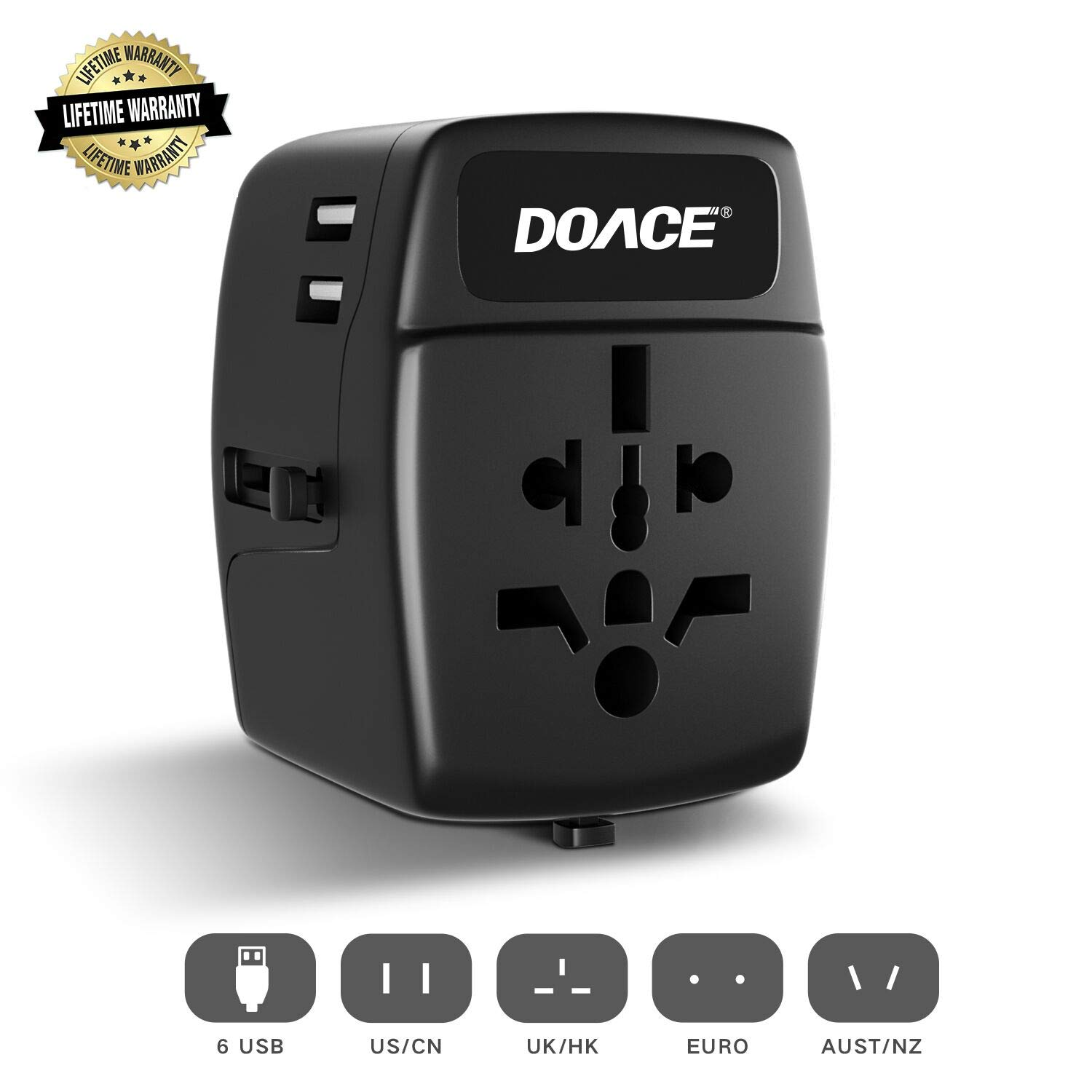 Universal Travel Adapter with 6-Port USB, DOACE All-in-one International Power Adapter with Suitcase Model, Wall Charger for UK, EU, AU, Asia, 150+ Countries (Black)