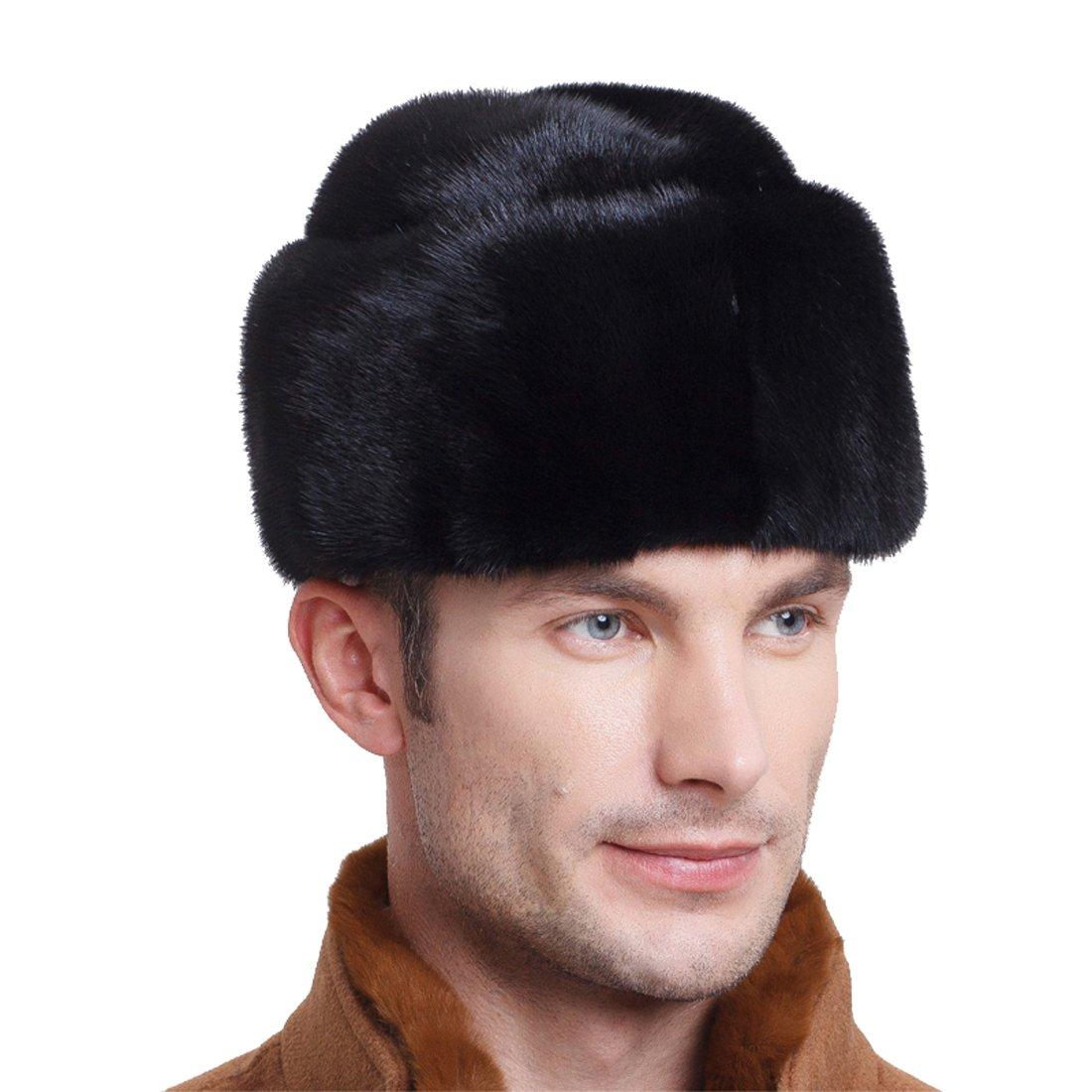 URSFUR Men's Mink Fur Fedora Hat (One Size, Black)