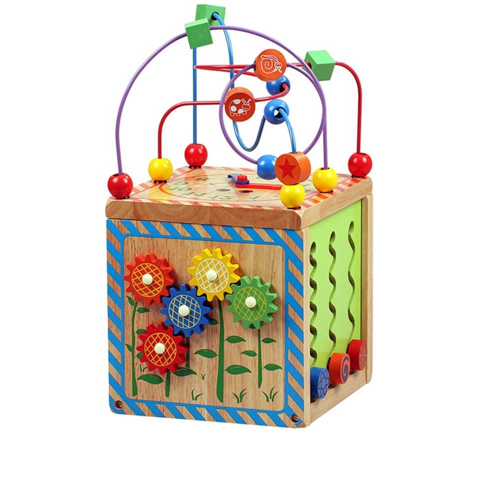 YANGFEI 知的玩具 ビーズ迷路キューブ初の幼児玩具木製アクティビティセンターを学ぶBabys Kidsのための教育用おもちゃ ボーイとガールズギフト   B07KT47C89