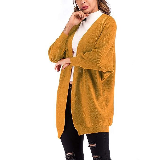 Btruely Herren Chaqueta Suéter Abrigo para Mujer, Chaqueta Larga Casual para Mujer Chaqueta Larga Suelta Manga murciélago Cardigan Bolsillo de Punto: ...