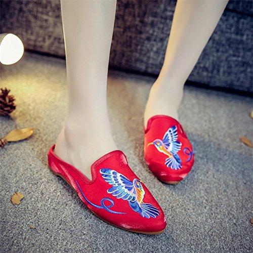 Ryrty(TM) Colibršª en punta bordados Moda Zapatillas de verano šŠtnicas Mujeres Zapatos Casual [Rojo - 9]: Amazon.es: Ropa y accesorios