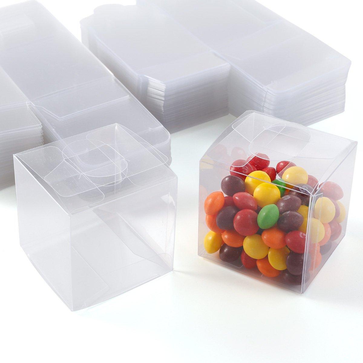Lot de 100/bo/îtes cadeaux cubiques en PVC transparent pour drag/ées de mariage bonbons g/âteau