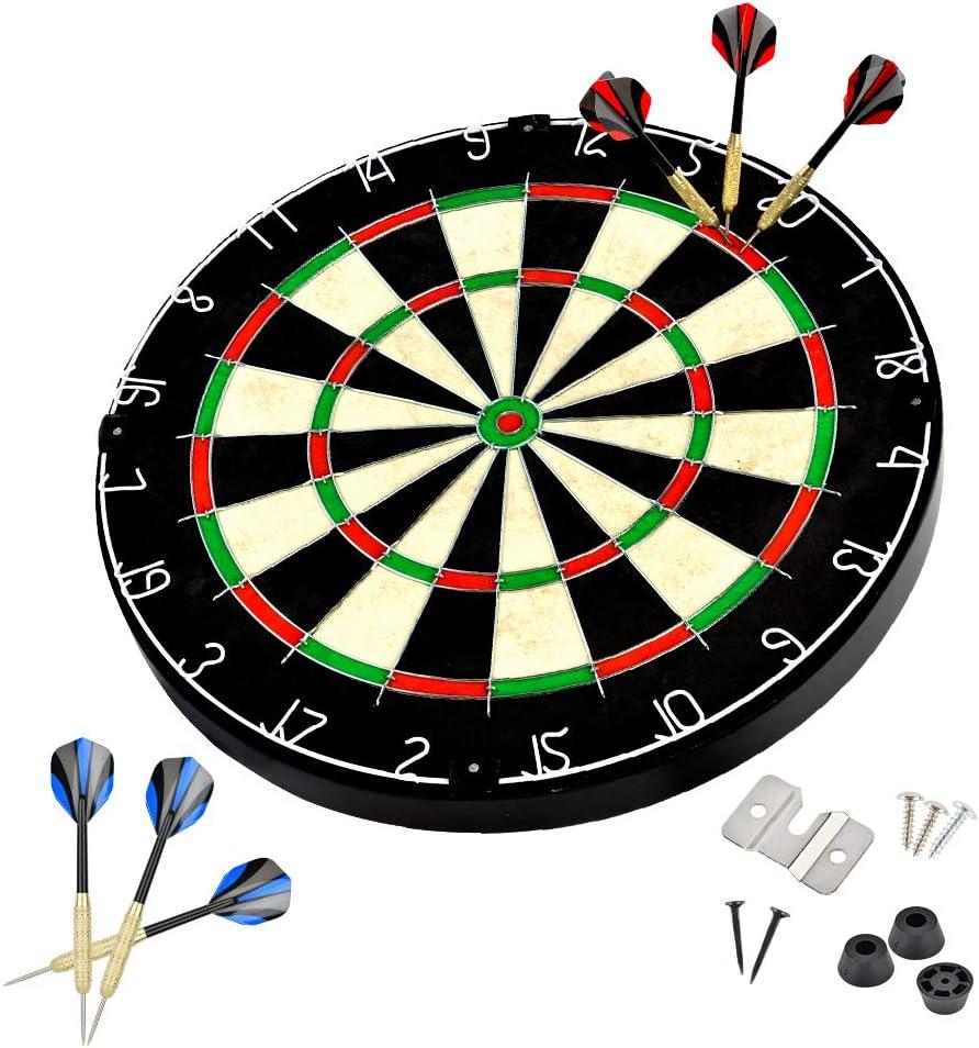 LinkVisions Sisal/Bristle Dartboard with Staple-Free Bullseye, 18g Steel Tip Darts Set, EVA Surround, Mounting Kits Included : Sports & Outdoors