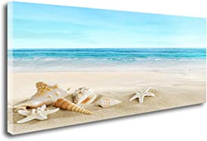 DZL Art S73950 Beach Picture Decor Ocean Painting Canvas Wall Art Prints of Starfish and Seashell on Sandy Seaside Ready to Hang for Living Room Bedroom Office Wall Decor Home Decoration