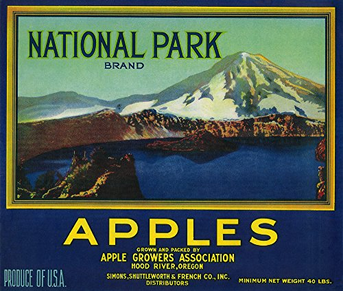 Crater Lake, Oregon - National Park Apples - Vintage Crate Label (12x18 Fine Art Print, Home Wall Decor Artwork Poster)