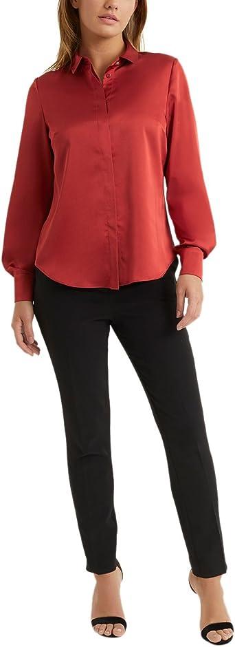 Lipsy Mujers Camisa De Satén Naranja EU 38 (UK 10): Amazon.es ...