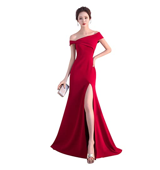 TS Mermaid Furcal Formal Evening Dress with Pleats One Shoulder Floor Length Satin Prom Dress,