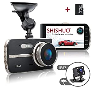SHISHUO Dash Cam Front and Rear - Upgraded 4 Inch Big Screen 1080P HD IPS Display Driving Recorder Cameras with 16GB Micro SD Card, G-Sensor, Motion Detect, LED Compensation, Parking Monitoring
