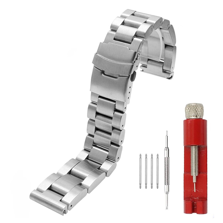 Heavyストラップ22 mm/24 mm/26 mm厚6 mm Brushedソリッドステンレスブレスレット腕時計バンド 22mm シルバー  シルバー 22mm B07CZZN96K