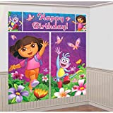 Amscan Colorful Doras Flower Adventure Party Scene Setter Wall Decorating Kit (5 Piece), Purple, 59 x 32 1/2""