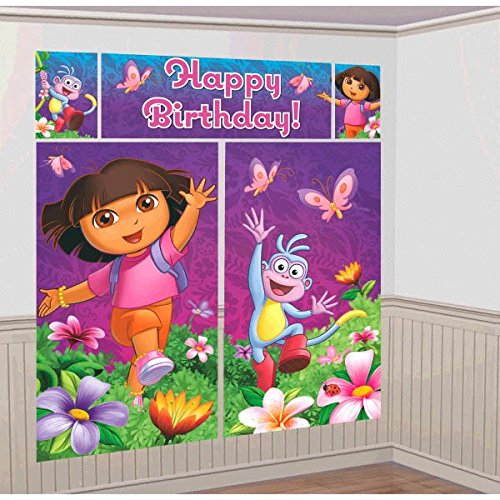 Amscan Colorful Dora's Flower Adventure Party Scene Setter Wall Decorating Kit (5 Piece), Purple, 59 x 32 1/2
