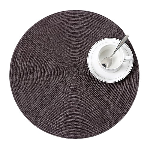 Round Placemats Stain PVC Table Mats Dining Tableware Pad Mat Set of 4,coffee (Round Dining Set Large)