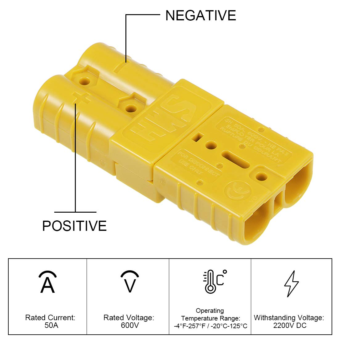 uxcell 6 Gauge Battery Quick Connect Disconnect Kit 50A Wire Harness Connector for Winch Auto Car Trailer Driver Yellow 2pcs