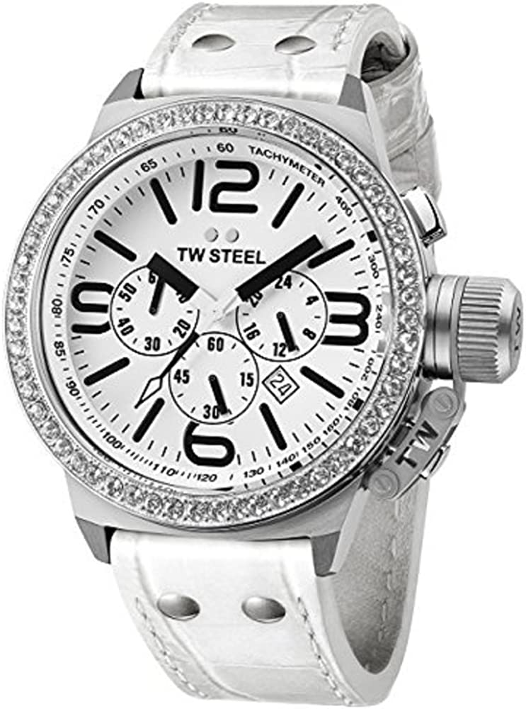 TW Steel Men s TW10 Canteen White Leather Chronograph Dial Watch
