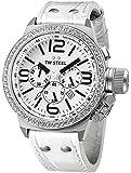 TW Steel - TW-10 - Montre Mixte - Quartz - Chronographe - Chronomètre - Bracelet cuir Blanc