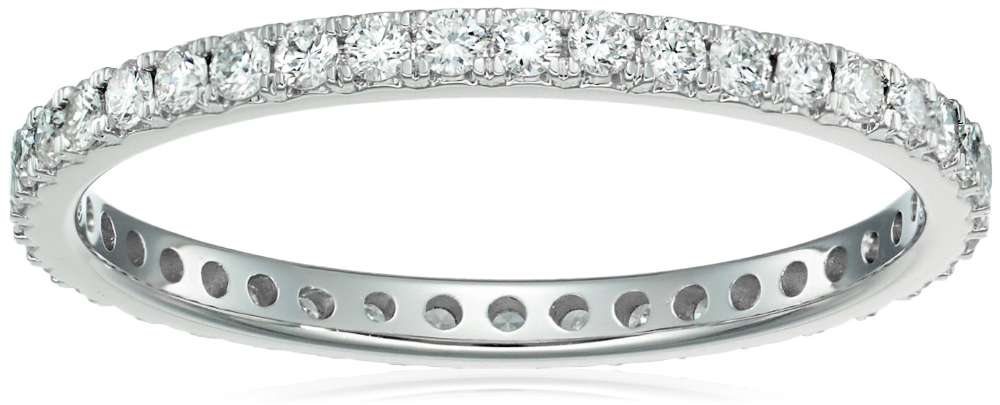 14k white gold diamond prong set eternity ring (1/2cttw, i color, i1 clarity), size 8