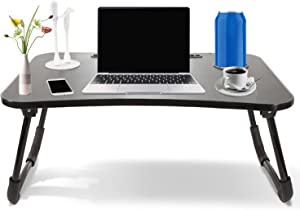 Laptop Desk Bed Laptop Stand Portable Sofa Table Floor Tray Multifunction Table Accessories Notebook Reading Writing with Cup Slot for Eating Breakfast and Beverages (Give Away Table Lamp Fan)