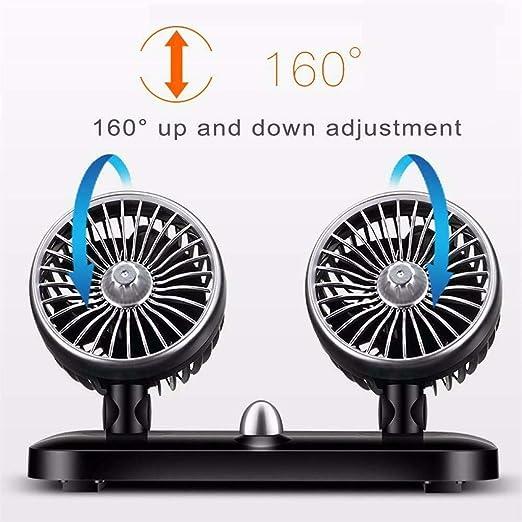 YWLINK Enfriador De Aire Coche Ventilador De Coche 12V 24V Universal Doble Cabeza USB PequeñO Ventilador EléCtrico para Enfriar El Tablero De Instrumentos Ventilador De Aire De VentilacióN Oscilante: Amazon.es: Hogar