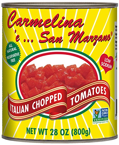 Carmelina San Marzano Italian Chopped Tomatoes in Puree, 28 ounce (Pack of 6)