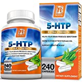 BRI Nutrition 5 HTP 100mg 240 Vegetarian Capsule - 5HTP Supplement to Support Depression & Anxiety Relief/Boosts Serotonin Production/Sleep Aid