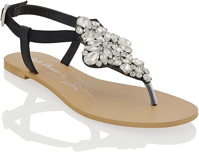 Womens Flat Sparkly Sandals Ladies T