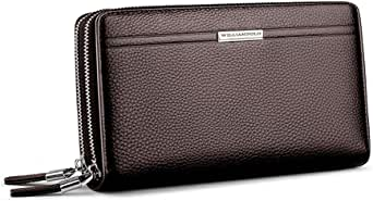 WilliamPOLO Genuine Leather Big Wallet Mens Large Capacity Long Cutch Handbag Double Zipper Casual with Wrist Band