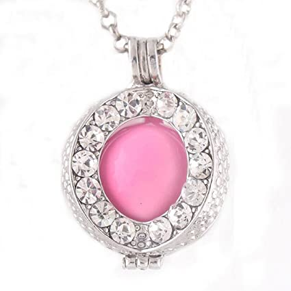 Colgante para embarazadas, diseño de Bola del vestido de noche, color rosa y Chaîne