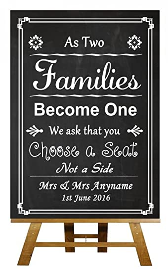 A3 Vintage Chalkboard Pick A Seat Not A Side Personalised Wedding ...