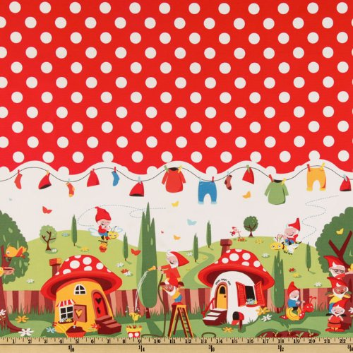 Michael Miller Gnomeville Border Red Fabric By The ()