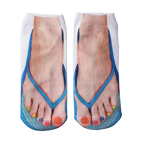 VJGOAL Mujer moda casual Novela Divertido creativo 3D Chanclas Impresión Cómodos Calcetines de Algodón Transpirables(Un tamaño, Azul): Amazon.es: Ropa y ...