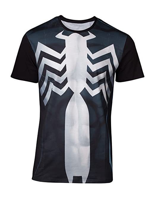 Bioworld EU Marvel Comics Spider-Man Mens Venom Suit Sublimation T-Shirt, Camiseta
