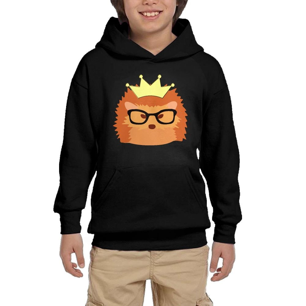 Youth Black Hoodie Hipster Hedgehog Hoody Pullover Sweatshirt Pocket Pullover For Girls Boys S by Hapli