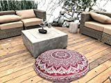 TEXTILE&CRAFT HOUSE Decorative Mandala Round Floor Pillow Cushion Cover Pouf Cover Indian Bohemian Ottoman Poufs Cover Pom Pom outdoor Cushion Cover (PINK)