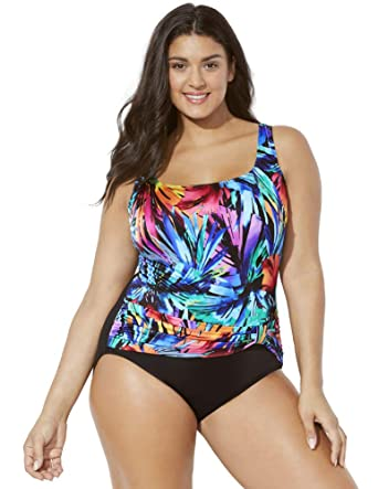 7faea4dcd43f0 Swimsuits for All Women's Plus Size Longitude Daybreak Tank Swimsuit at  Amazon Women's Clothing store: