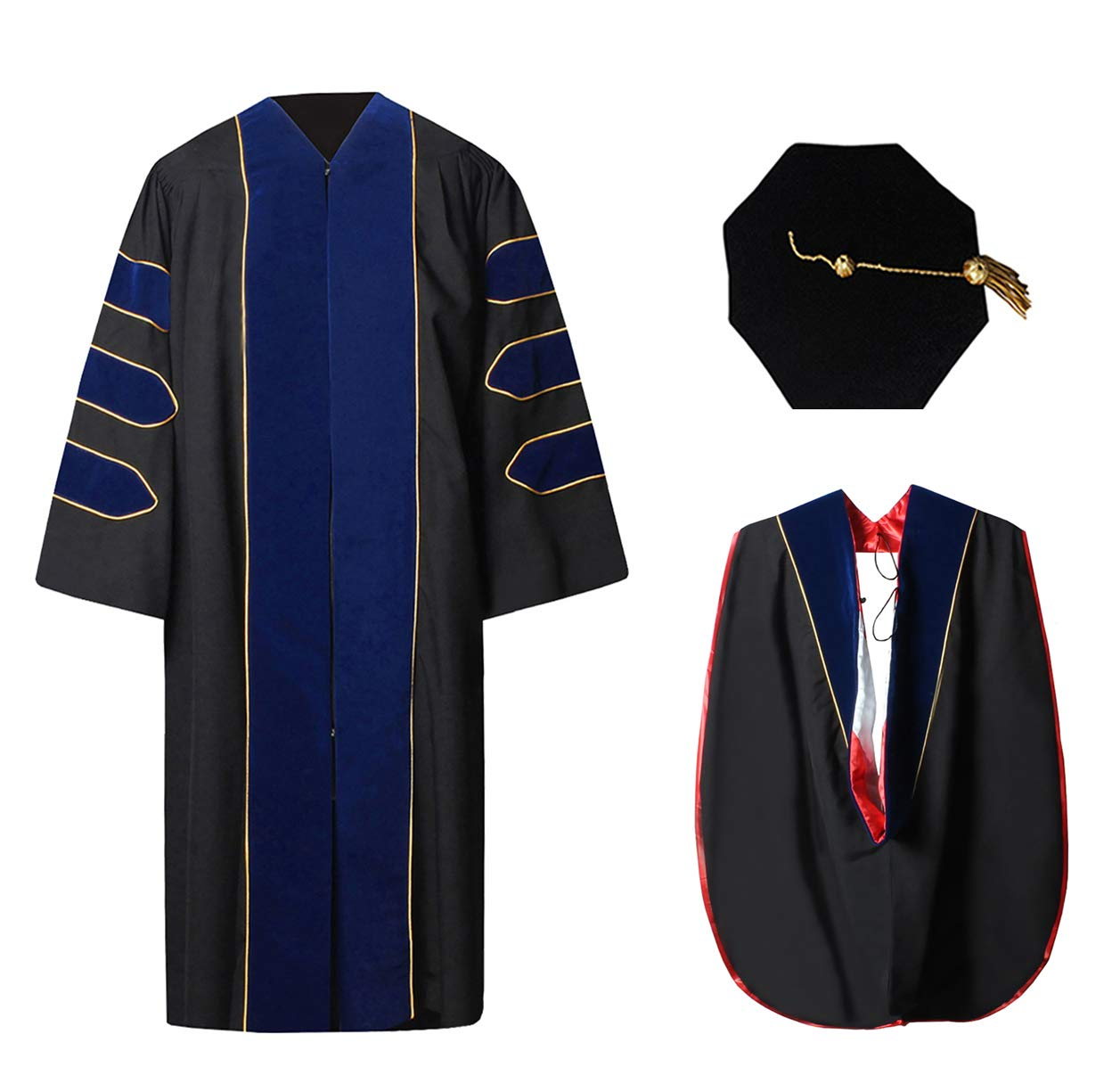 Deluxe Doctoral Graduation Gown Hood and 8-Sided Tam Package Red White