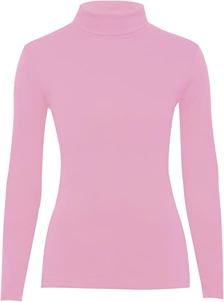 Ladies Roll Neck Polo Jersey Top UK Size 8-18