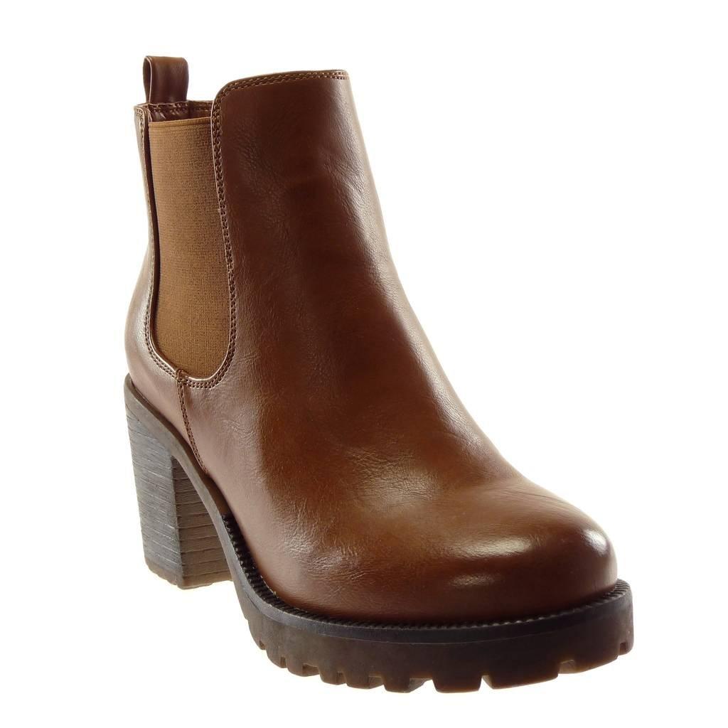 Angkorly - Chaussure 10188 Bloc Mode Bottine Chelsea Boots Plateforme Plateforme Slip-on Femme élastique Talon Haut Bloc 8 CM Camel f866e28 - gis9ma7le.space
