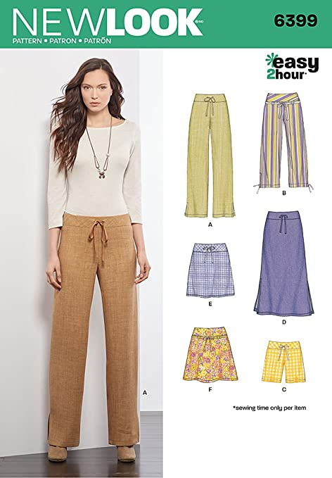 New Look 6399 Size A Misses\' Easy Bottoms Sewing Pattern, Multi ...