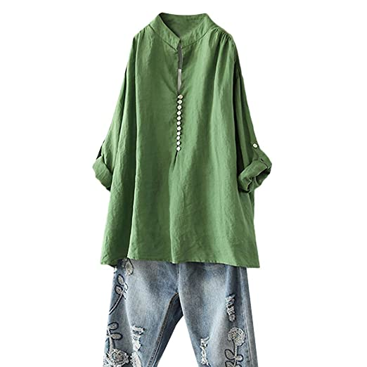 a76dee82608bec Plus Size Women Tunic Top Button Up Shirt Long Sleeve Solid Color Tee Loose  Blouse (