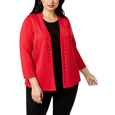 JM Collection Women's Plus Size Stud-Bordered Open-Front Cardigan, 3X-Large, New Red Amore at Women's Clothing store