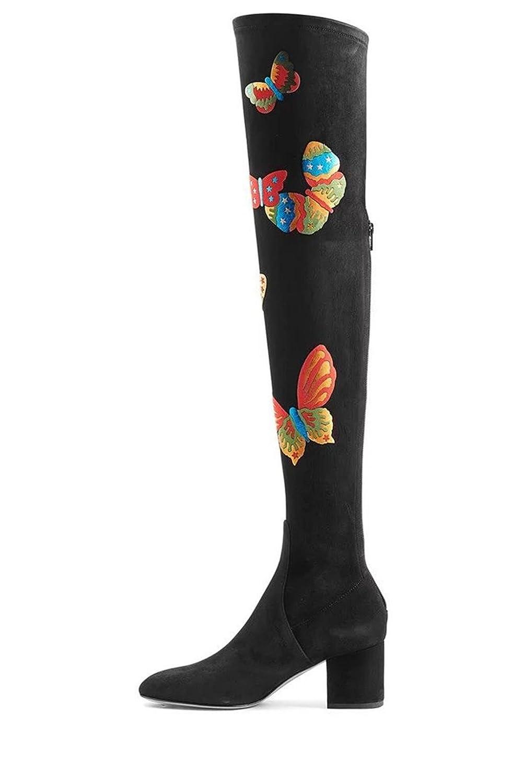 NVXIE Damen Damen über Knie Oberschenkel Stiefel Lange Stiefel Neue Mode Mid Rough Heel Spitz Zeh Schmetterling Printing Scrub Schwarz Herbst Winter