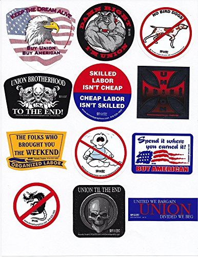Union Shop (1 SET (12pcs) Union Hard Hat Sticker DECALS approx. 2inch each -- Our Best Sellers Pack)