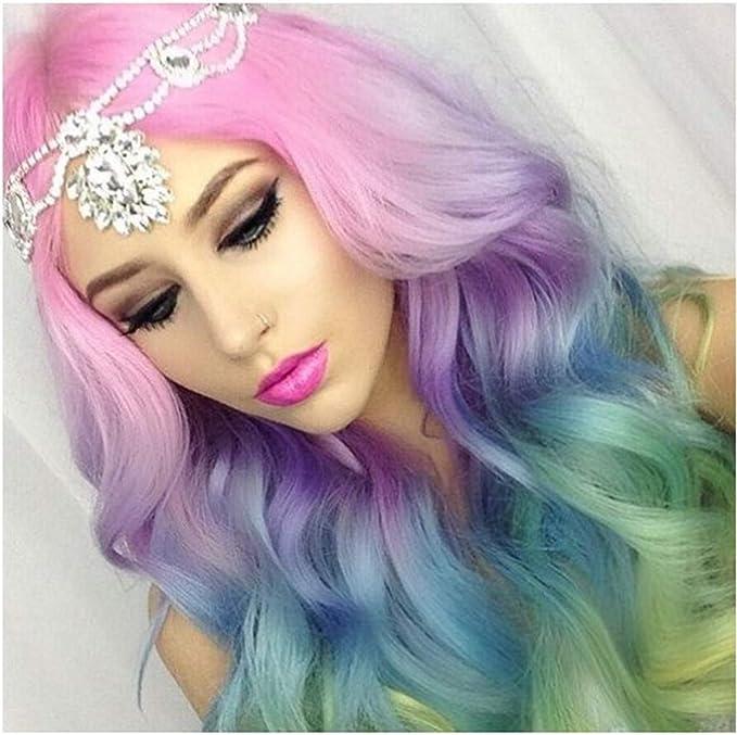 OKEYsoe Peluca larga rizada de arcoíris, peluca de moda ...