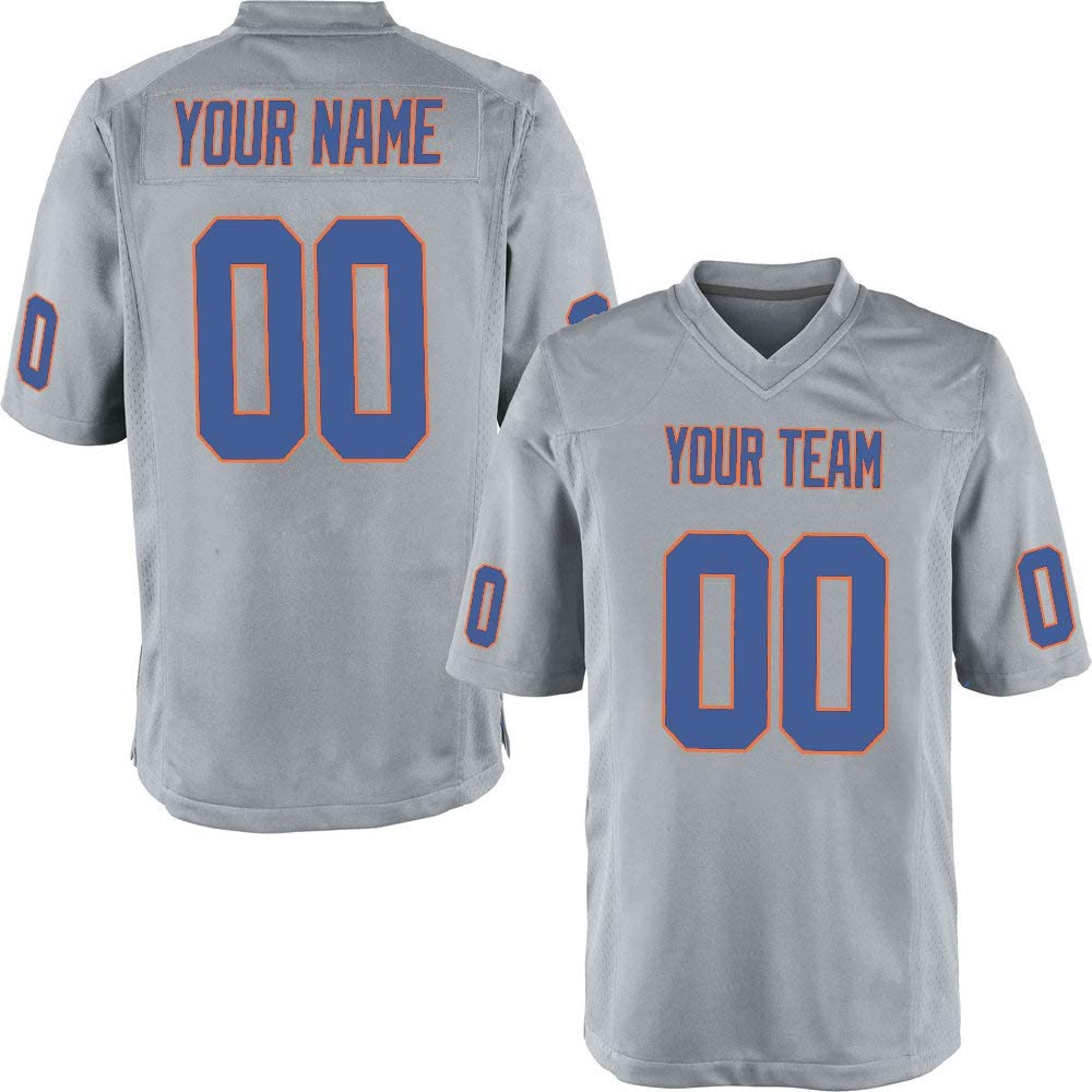 Custom Gray Mesh Replica Football Game Jersey Embroidered Team Name and Your Numbers